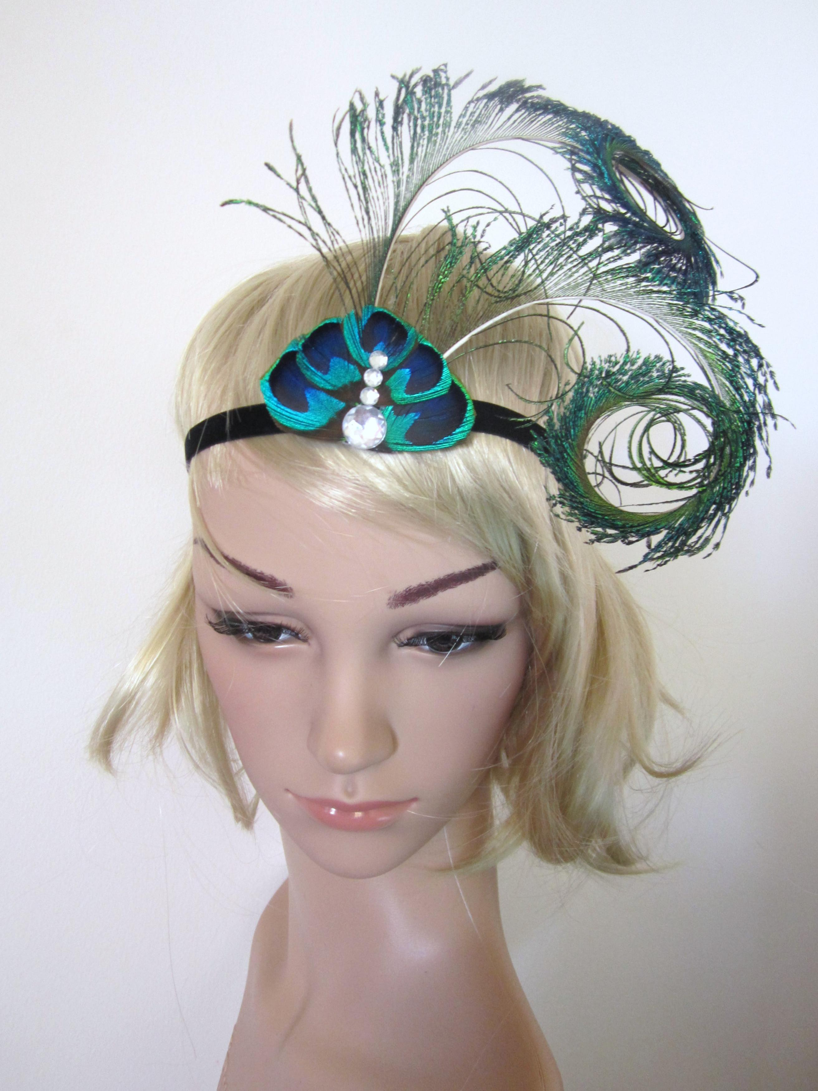 Peacock Feather 1920s Inspired Burlesque Showgirl Fascinator Headband on  Luulla 688aa0527ca